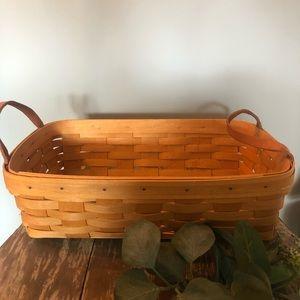 Longaberger rectangle basket 2000 leather handles